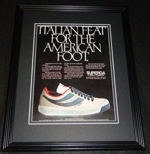 1981-superga-pirelli-shoes-11x14-framed-original-vintage-advertisement