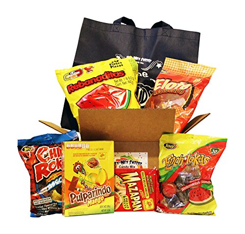 Mexican Candies Kit. Mix Of Mexican Candy Including Vero Rebanaditas, Pulparindo Mango, Marzipan, Elote Revolcado, Chili Rokas Assorted, Enchilokas Watermelon And Tote Bag.