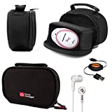 DURAGADGET Black Neoprene Lightweight Zip-Locked Carry Case Compatible with the AngelSounds Fetal Doppler Baby Heart Monitor - Includes Retractable Mini USB Sync Cable and Black In-Ear Headphones