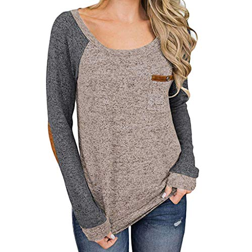 Keliay Bargain Women Casual Color Block Long Sleeve Pullover Tops Loose Tunic Sweatshirt KH/L