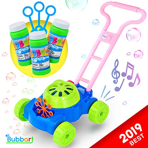 Bubbart Bubble Lawn Mower Automatic Bubble Machine for Kids- Outdoor & Indoor Toys for Toddlers Lot of Fun for your Little Ones | Bonus 3 Bottle Bubbles Solution and Sticks , Suitable for Boys & Girls (Bubble Backyard)
