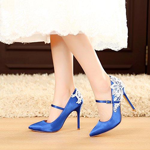 Nuziale Blu Con Pizzo Tacco Sexy 2064 4 Pollici Da 5 Reale Rs Luxveer Scarpe Sposa Raso Donne Fiori Di Sera Di Alta gRzcwYvqOH