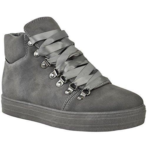 Chaussures D'espadrilles Salut Plates Dames Assoiffés Bottes Gris Mode En Cheville Suède La Dentelle Faux Haut De Femme Confortable Pompes C68CqwX