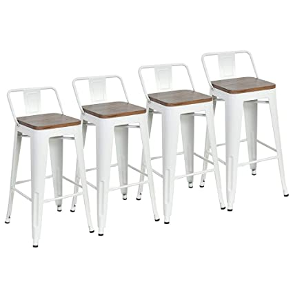 Miraculous Dekea 26 Inch Low Back Bar Stools With Wooden Top Counter Height Metal Bar Stool Set Of 4 For Kitchen Or Indoor Outdoor Barstools White Uwap Interior Chair Design Uwaporg