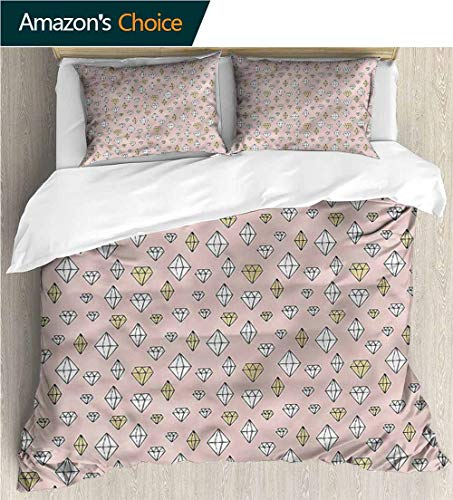 """VROSELV-HOME Kids Quilt 3 Piece Bedding Set,Box Stitched,Soft,Breathable,Hypoallergenic,Fade Resistant Bedding Sets,1 Duvet Cover,2 Pillowcase-Diamonds Sketch Various Gemstones (87"""" W x 95"""" L)"""
