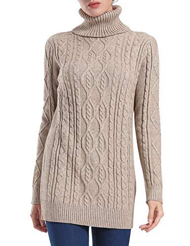 - PrettyGuide Women's Long Sweater Turtleneck Pullover Tunic Sweater Tops S Khaki