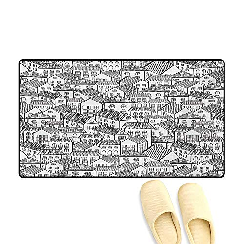 (Door-mat,Town Pattern Houses Illustration Sketch Style Buildings European Architecture Design,Bathroom Mat for Tub Non Slip,Black White,16
