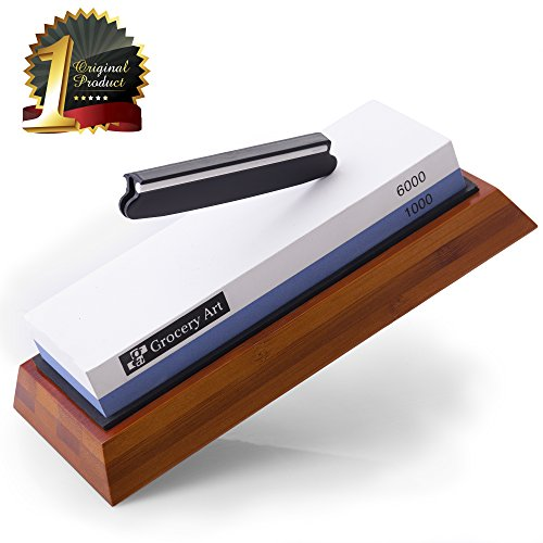 Whetstone Knife Sharpening Stone | Waterstone Knife Sharpener 1000-6000 Grit with Non-Slip Bamboo Base and Angle Guide | Best Wet Stone Kitchen Knives Sharpening Kit by Grocery Art
