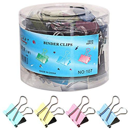 Color Scissor 48 Pieces Binder Clips, Medium Metal Binder Clips Paper Clips, Assorted Color (25mm) ()