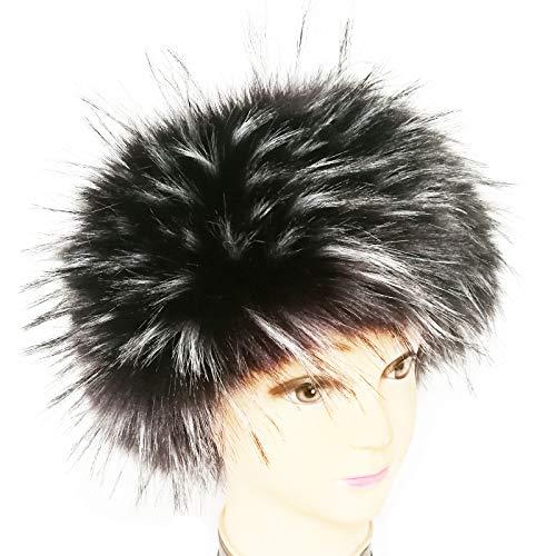 - FAITH YN Faux Fur Headband with Elastic Stretch Women Fur Hat Winter Ear Warmer Earmuff Ski Cold Weather Caps [Black With Tips White]