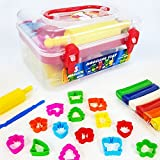 JUGGLEPIE Colorful Modeling Clay Set for Kids | Art Toys for Creative Children – Roller, Cutters and Storage Box Included - Soft Easy to Mold, Non-Hardening - 13.4 oz of Clay – 7 Colors