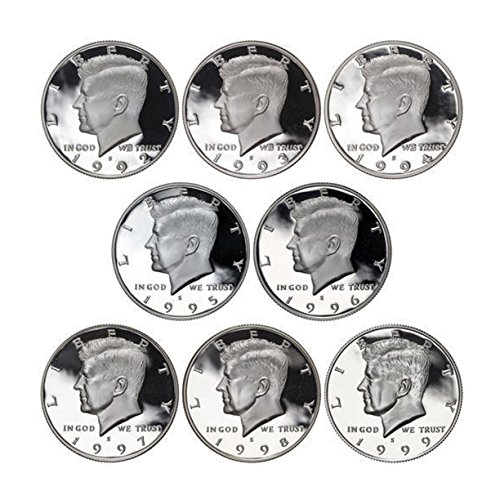 1992 - 1999 S Kennedy Proof Half Dollar 90% Silver Proof Run 8 Coins Gem Deep Cameo
