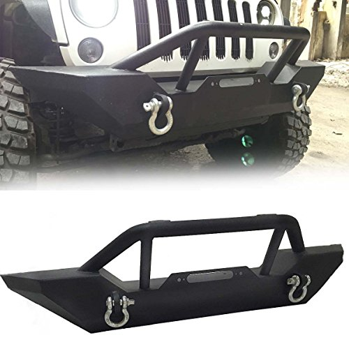 Price comparison product image Gevog Textured Black Front Bumper Guard Rock Crawler w/ Light Tab+Winch Plate+D-Ring for 2007-2016 Jeep Wrangler JK All Models Brush Push Bull Bar