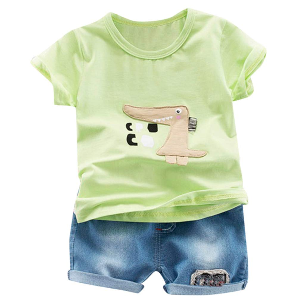Midress 2PC O-Neck Cartoon Print T Shirt Tops Jeans Short Kids Baby Boys Outfits Sets (Green, 6-12 Months)