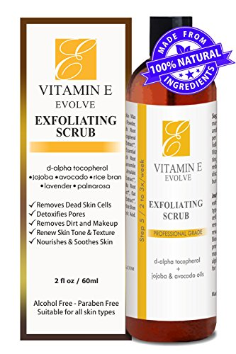 100% Natural Vitamin E Exfoliating Facial Scrub. Rich & creamy exfoliator with jojoba pearls + alpha hydroxy acid helps wash, cleanse & exfoliate face. Best exfoliant to fix uneven skin tone and acne.