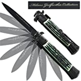 Milano Godfather Spring Assisted Stag Knife Green, Outdoor Stuffs