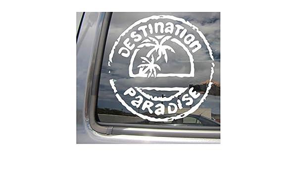 DESTINATION PARADISE TROPICAL HAWAII WINDOW MIRROR DECAL STICKER 6 INCH BLACK