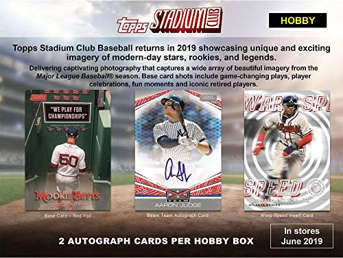 (Sports Memorabilia 2019 Topps Stadium Club Baseball Factory Sealed 16 Pack Hobby Box - Baseball Wax Packs)