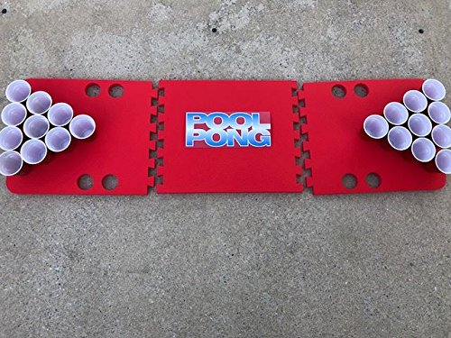Red Pool Pong Foam Beer Pong Table - 6ft, Foam, All Weather, Portable - Floats Anywhere