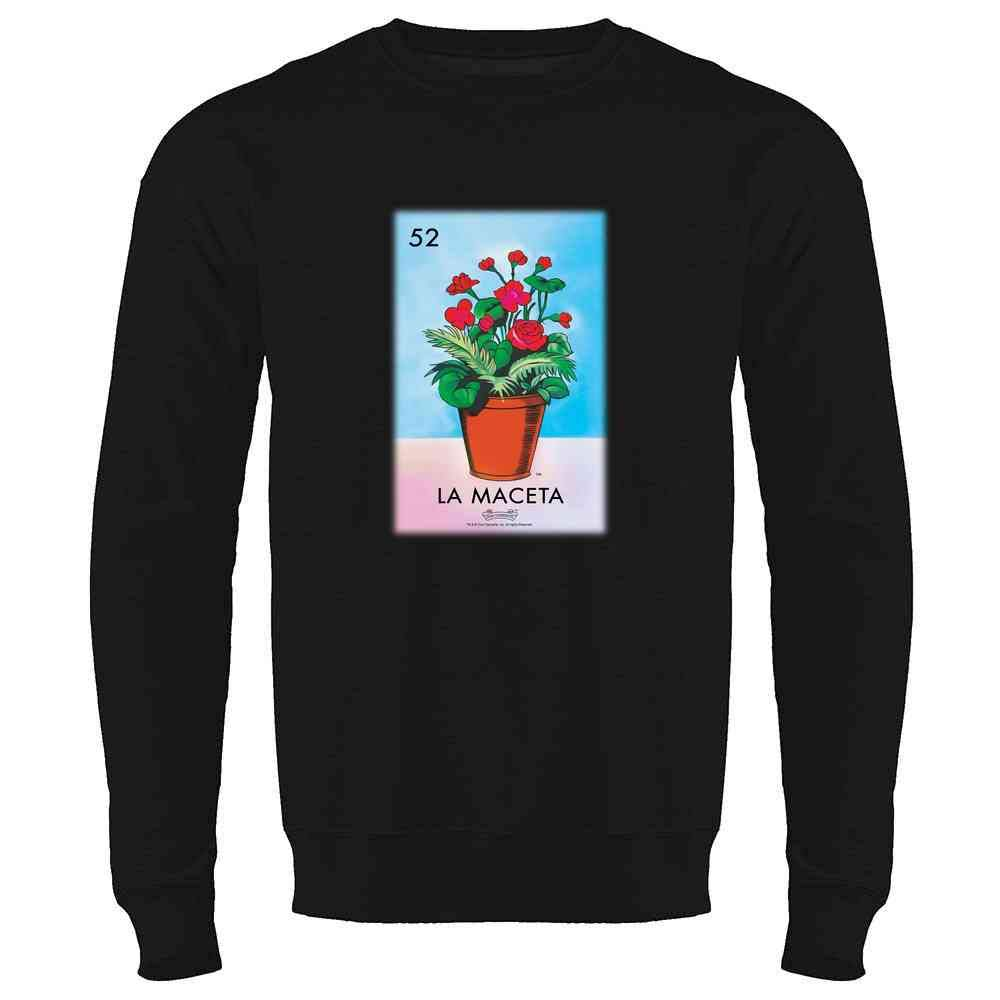 La Maceta Flower Pot Card Mexican Bingo Crewneck Sweatshirt for Men