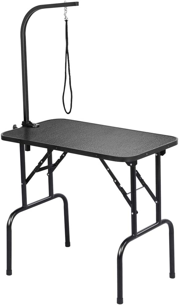 Yaheetech 32-inch Foldable Pet Dog Grooming Table with Adjustable Height Arm Drying Table for Home w/ Noose for Small Dogs Cats Non-Slip Maximum Capacity Up to 220lbs Black: Home Improvement