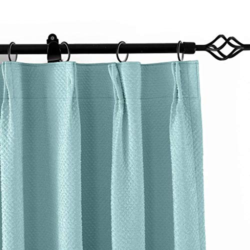 """TWOPAGES Pinch Pleated 50"""" W x 84"""" L Jacquard Circle Window Curtain Drapery, Aqua Bubble Wrinkle (1 Panels), for Traver Rod or Track"""