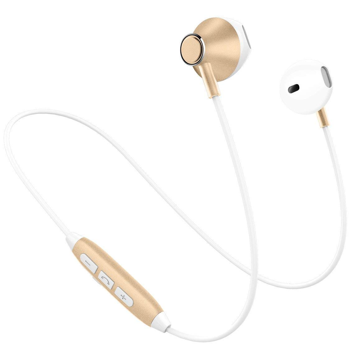 Bluetooth Headphones, Wireless Sport Earphones, Noise Cancelling HD Stereo Magnetic Wireless Earbuds with Mic, Sweatproof, IPX4 Waterproof Lightweight Secure fit for Work Out Gym Running(White Gold) Picun