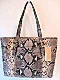 Michael Kors Jet Set Open Travel N/S Tote Satchel Embossed Python Leather Dark Sand, Bags Central