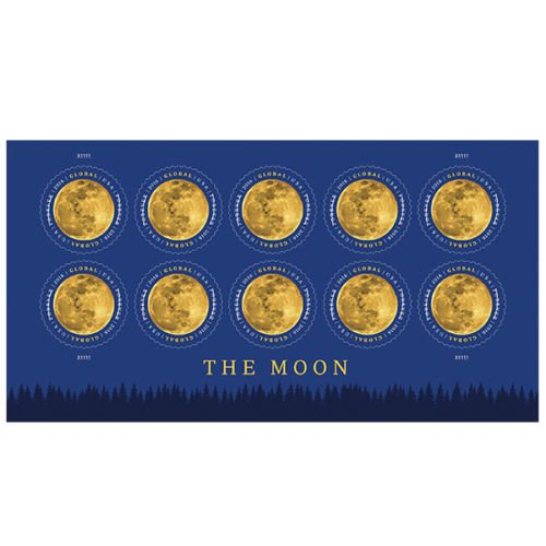 USPS New The Moon Global Forever International rate stamp pane of 10 - Rare Popular for - International Usps Rates