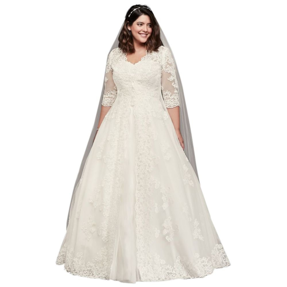 Davids Bridal Organza Plus Size Wedding Dress With Long Jacket