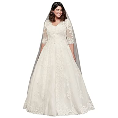 David\'s Bridal Organza Plus Size Wedding Dress with Long Jacket ...