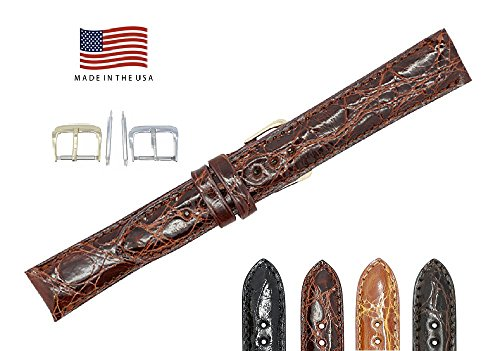 (20mm Cognac Genuine Crocodile - Glazed Padded Stitched - American Factory Direct - Replacement Watch Band Strap - Gold and Silver Buckles Included - Made in The USA by Real Leather Creations FBA532)
