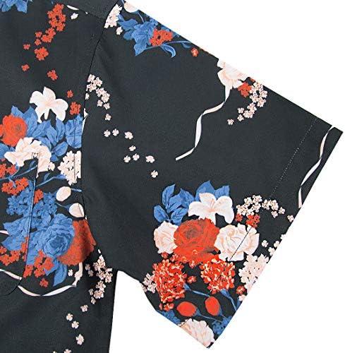 BOJIN アロハシャツ メンズ 通気速乾 UVカット 半袖 柄 カジュアル プリント 超軽量 夏服 ブラック 3L(ラベルXL)
