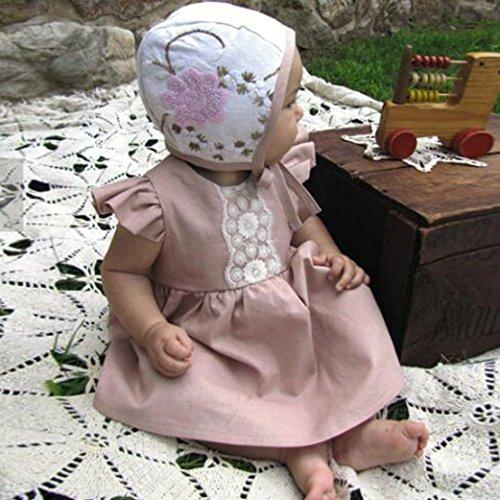 Mounter Robe Bébé, Été Fille Manches Sans Tutu Rose Robe de Princesse [ Fleur ] [ Dentelle ]