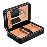 Capo Lily Cigar Humidor, Cigar Case, Cedar Wood Travel Portable Leather Cigar Humidor Case with Cutter