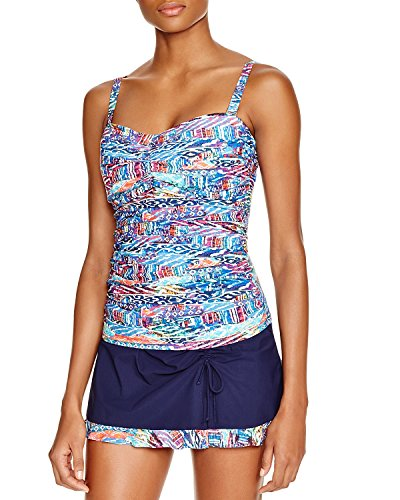 Profile by Gottex Women's Global Beat Bandeau D/E-Cup Underwire Tankini Top, 34D/E