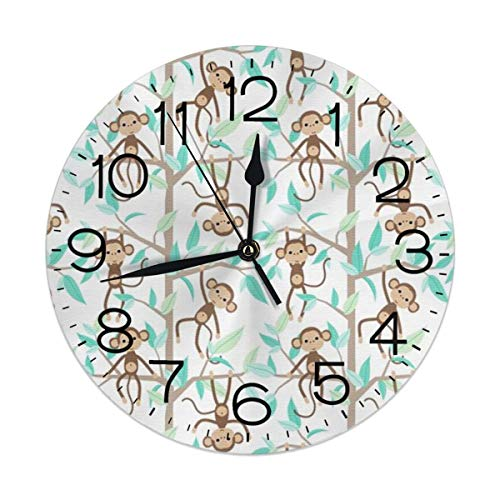 Monkey and Tree Wall Clock Silent Non-Ticking Battery Operated Easy to Read Decorative for Living Room Office