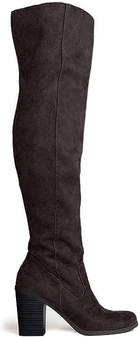 Knee High Stacked Heel Boot