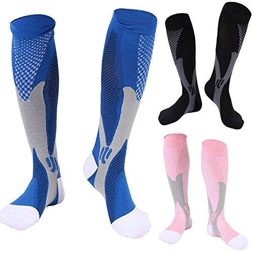 3 Pairs Compression Socks for Men and Women Graduated Athletic Socks for Sport Medical, Athletic, Edema, Diabetic, Varicose Veins, Travel, Pregnancy, Shin Splints, Nursing by Yodofa (Image #2)
