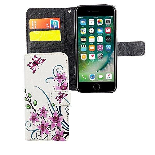 König Boutique Apple iPhone 6/6S Housse étui Case Cover Etui Coque Portefeuille en cuir synthétique motif lotus fleur
