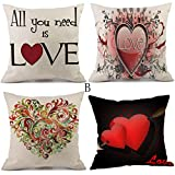 Valentine's Day Pillow Covers 18''x18'', Shensee 4PcsHappy Valentine Pillow Cases Linen Sofa Cushion Cover Home Decor Pillow Case (B)