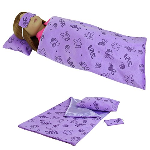 Sleeping Series Outfits Set of 3 for 18 inch American Girl Doll Clothes - 1xPurple Sleep Bag +1xPillow +1xEyes Cover