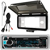 Kenwood KMR-M318BT In-Dash Marine Boat Audio Bluetooth USB Receiver With White Waterproof Protective Cover Bundle Combo With Enrock USB/AUX To RCA Interface Mount Cable + 45 Radio Antenna Mast
