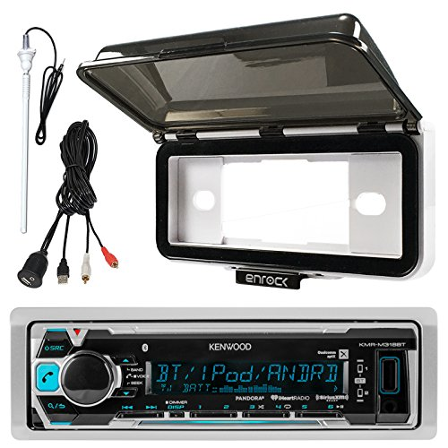 Kenwood KMR-M318BT In-Dash Marine Boat Audio Bluetooth USB Receiver With White Waterproof Protective Cover Bundle Combo With Enrock USB/AUX To RCA Interface Mount Cable + 45' Radio Antenna Mast