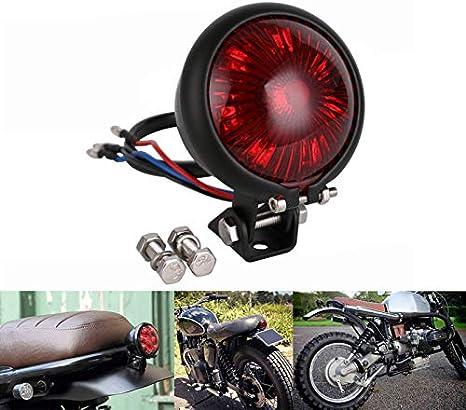 Haneu Motorrad Led Rücklicht Bremslicht Bates Style Schwarz Rotes Glas E Geprüft Custom Cafe Racer Auto