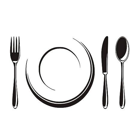 Mddjj Juego De Plato Y Cubertería Tienda De Restaurante Decoración De Cocina Vinilo De Hogar Familiar