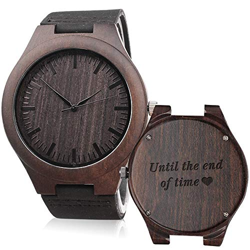 Engraved Wooden Wrist Watch - Until The End of Time - Unique Wedding Anniversary Gifts for Husband Boyfriend (Sentimental Gift For Boyfriend One Year Anniversary)
