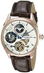 Stuhrling Original Men's 657.04 Delphi Automatic Self Wind Skeleton AM/PM Dual Time Brown Leather Strap Watch