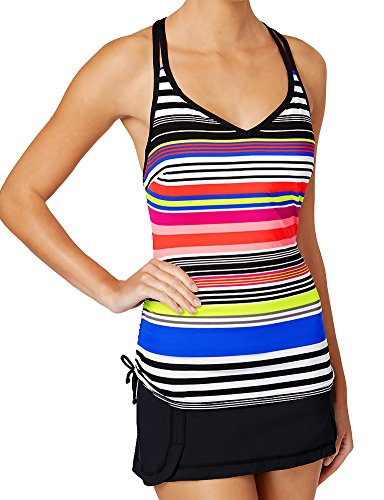 - JAG 2 Piece Tankini Set - DD-Cup Supportive Underwire Reactive Stripe Cross Back V-Neck Top & Seamed Swim Skirt Black/Multi 34DD L