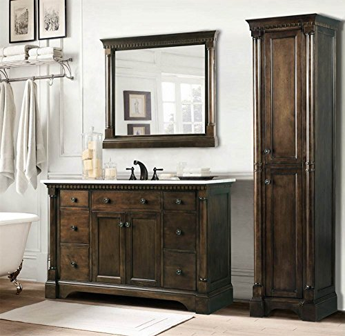 Legion Furniture 49 in Bathroom Vanity in Antique Coffee with Carrara Marble Top